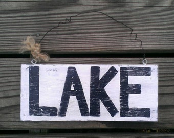 Lake sign wood plaque coastal home decor indoor outdoor sign
