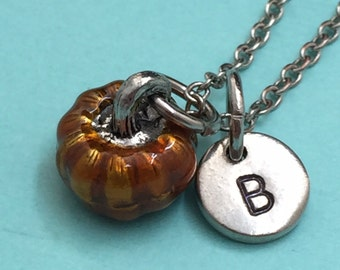 Pumpkin necklace, pumpkin charm, food necklace, personalized necklace, initial necklace, monogram, Halloween necklace