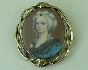 Victorian Hand Painted Portrait Miniature Brooch Pinchbeck MOP Gold Frame Antique