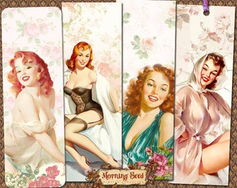 Pin Up Bookmarks download Printable 2 x 6 inch - Instant Bookmark Hang Tags DIY Gift Hen Party Tags 50s-60s Elvgren