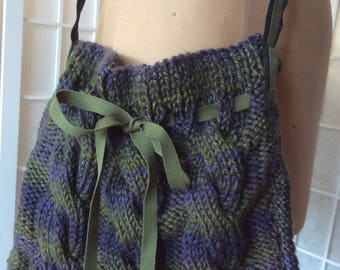 Cable knit bag, Olive Purple Purse, Tweed Shoulder Bag, Woman's Purse, Gift  For Her, OOAK purse, Statement Bag,