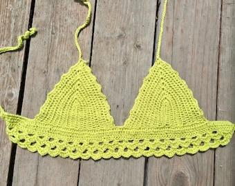 Alien Lime Green Bright Crochet Bohemian Festival Top
