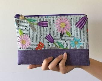 Purple Zipper Pouch, Floral Zipper Pouch, Quilted Zipper Pouch, Padded Zipper Pouch, Purse Organizer, Makeup Bag, Pencil Case