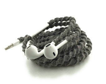 Wrapped Headphones for iPhone, Handmade iPhone Headphones, Design Earbuds, Custom Headphones, iPhone EarPods Tangle Free Earbuds in AXEL