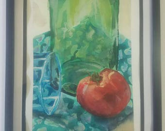 """Original Framed Watercolor """"Still Life with Tomato"""""""