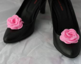 Clips on Shoes - Shoe Clips - pink flowers