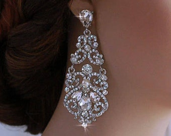 Pageant Bridal Earrings Party Bride Wedding Jewelry Crystal Dangle Accessory Chandelier Accessories Prom Drop Brides Gift Weddings 127