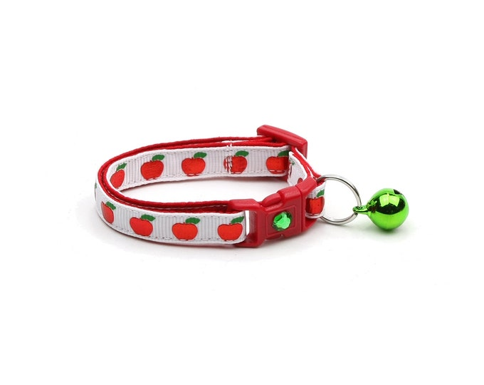 Fruit Cat Collar - Shiny Red Apples on White - Small Cat / Kitten Size or Large Size