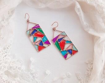 Vitrage earrings, Carnaval earrings, Arlequin, Venezia, Multicolored earrings.