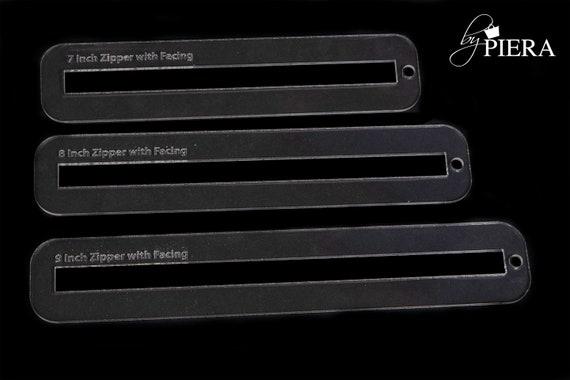 zip facings, zipper templates, squared zipper facing, round zipper facing, acrylic template, laser engraving, bagmaking connectors