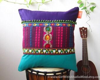 Boho Pillow - Purple Tribal Ethnic Bohemian Throw Pillow Cushion Cover