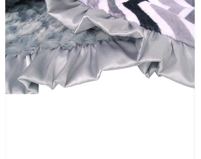 Black and gray Zig Zag Chevron Minky Baby Blanket, also for toddler, teen