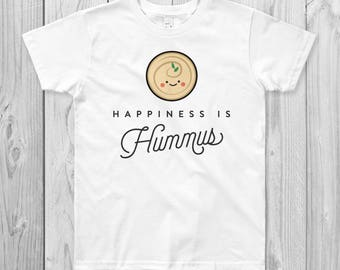 Happiness is Hummus Kids T-Shirt, Vegan, Vegetarian, Shirt, Plant-Based Clothing, Foodie, Healthy, Cute, Funny, Love, Kawaii, Gift