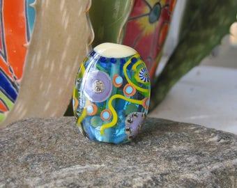Bright Aqua Abstract tab- Silver glass lampwork focal bead- SRA lampwork- Lisa New Design