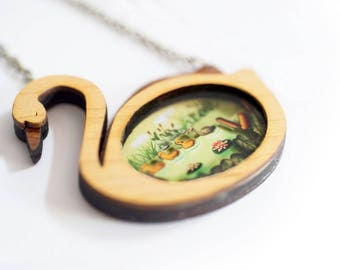 The Ugly Duckling  Necklace. Natural wood and cut paper diorama 3D.