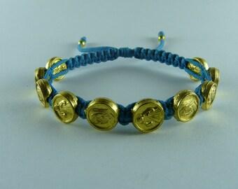Virgin Mary & Divine Mercy bracelet,Gold medal bracelet