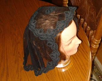 Black Lace Princess Style Headcovering - Church or Chapel Veil Mantilla Scarf NEW