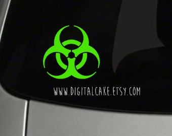 Radioative symbol vinyl window decal - exterior window sticker - pick your size - Biohazard - zombie apocalypse - radioactive symbol