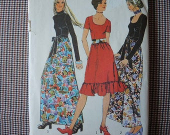 vintage 1970s simplicity sewing pattern 9602 misses evening dress in two lengths and sash size 14