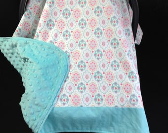 Car Seat Canopy/ Car Seat Cover/ Pink/ Aqua