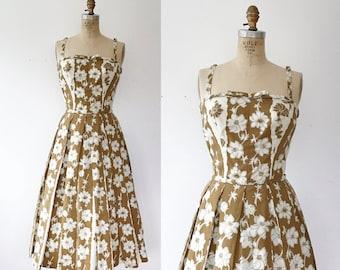1950s cotton dress / 50s floral dress / Trellis dress