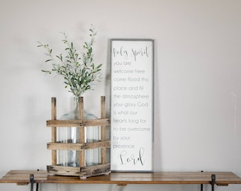 Holy Spirit you are welcome here wood sign, scripture sign, faith wall art, Christian lyrics wall art, Holy Spirit wall decor, welcome sign