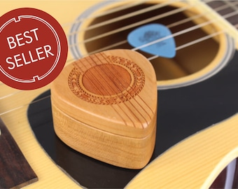 Guitar Pick Box, Solid Cherry Hardwood, 2-1/4