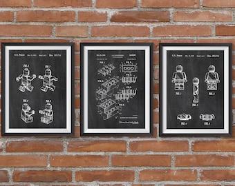 Lego blueprint etsy set of 3 lego patent posters lego patent printable lego toys lego poster kids room wall art nursery decor digital download blueprint malvernweather Images