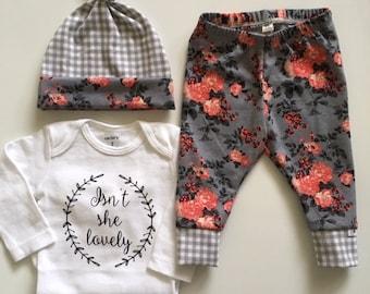 NEW! Vintage Coral Floral- Newborn Outfit-Legging/Hat/Shirt