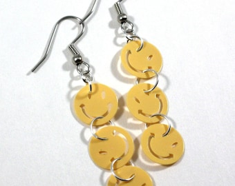 Smiley Face Earrings Yellow Happy Faces Dangle Plastic Sequin Jewelry