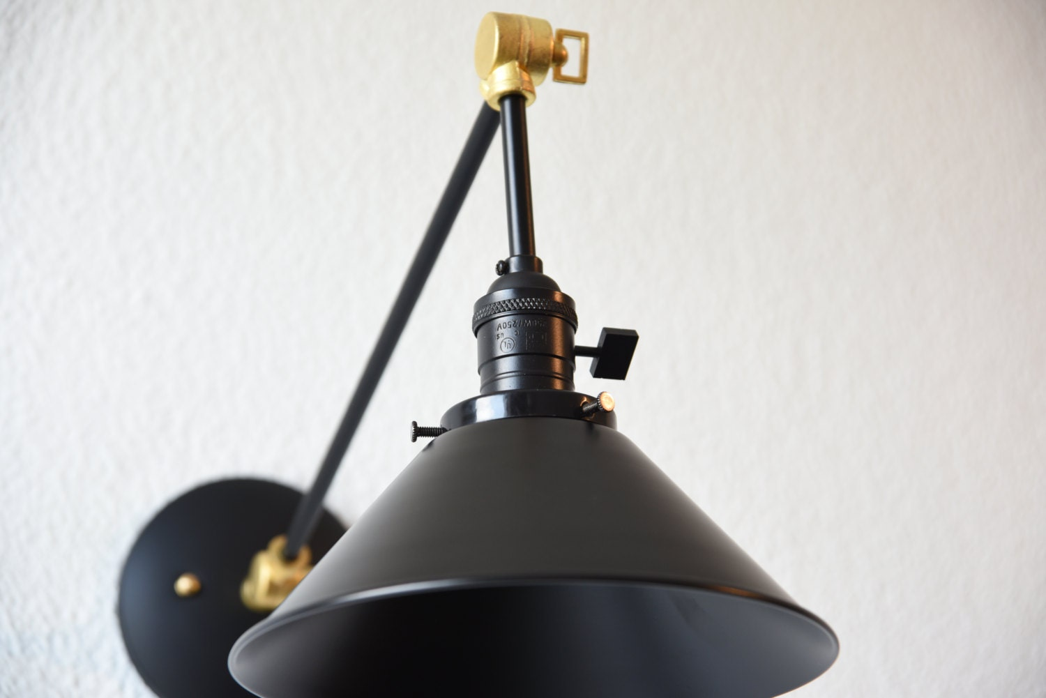Black And Brass Gold Articulating Boom Wall Sconce Metal