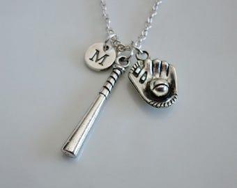 Softball necklace, Softball bat necklace, Baseball glove gift, Baseball coach Softball Mom gifts, Personalized Softball necklace