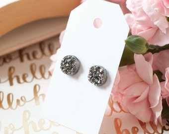 Druzy Earrings | Stud Earrings | Gun Metal Faux Druzy Studs | Gifts for Her | Bridesmaid Gift | Druzy Studs | Druzy Jewelry |