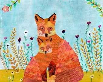 Animal Art, Mother and Baby Fox Art Print on Wood, Animal Painting, Children Nursery Decor