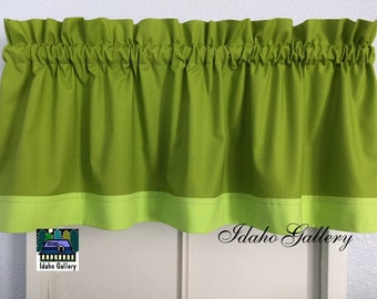 Nature Shades Earthy Shades of Green 13 inch Short Window Valance Kitchen Curtain Bedroom Valance Idaho Gallery Kona Sprout