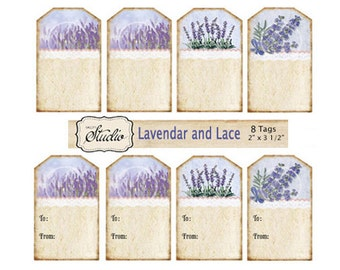 Lavender Gift Tags, Printable Tags, Instant Download, purple flower tags, custom order, craft supplies, garden party tags, Digital gift tags