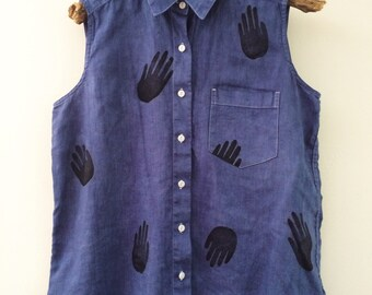 Hand Dyed and Block Printed Top