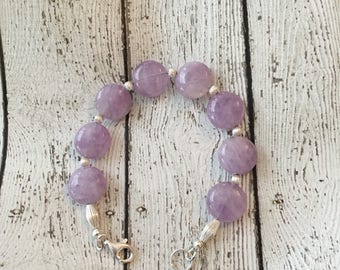 Pink Amethyst and Sterling Silver Bracelet - Free U.S. Shipping