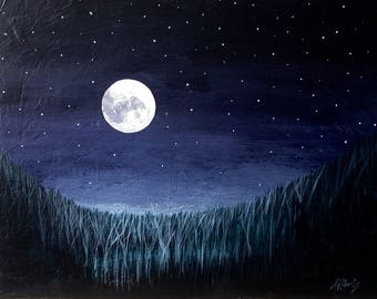 Night Landscape, Full Moon Fine Art Original Painting, Starry Night, Night Sky