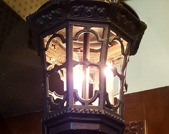 Vintage Pendant Light, Black Iron Lantern, Vintage Light Fixture