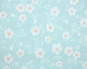 1930s Vintage Wallpaper by the Yard - Floral Wallpaper with Pink Flowers on Light Blue