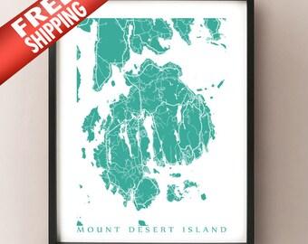 Mount Desert Island, Maine Map Print - FREE SHIPPING