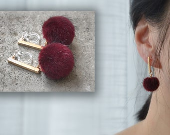 Fur Ball. Invisible Clip On Earrings Dangle Red Pom Pom Clip On Earrings Modern Fur Ball Clip Earrings. Non Pierced Earrings Pierced looked.