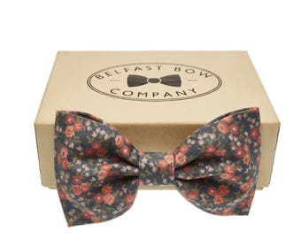 Handmade Floral Bow Tie in Blue, Coral Pink - Adult & Junior sizes available