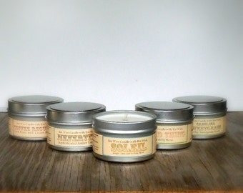 6 Gourmet Soy Candles Gift Box Sampler Set / Coworker, Friend, Hostess Gifts, Stocking Stuffer Christmas present for her