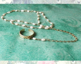 Vintage Slave Bracelet with Ring Attached Cultured Pearls with Gold Tone Chain