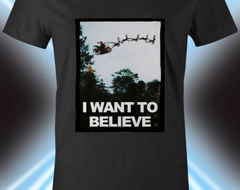 X-files Christmas Shirt, Xfiles, Ladies Holiday T-shirt, Aliens, Scifi, Fox Mulder, Dana Scully, Santa, Reindeer Apparel, Fan Art, Decor