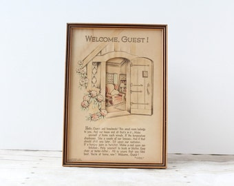 Buzza Motto Welcome Guest Wall Hanging / 1930s 3-D Cutout Guest Room Poem Verse Gift / Picture Poem Home Chair Door Picture