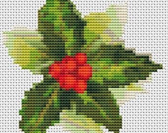 Christmas Cross Stitch Chart, Christmas Holly Cross Stitch Pattern PDF, Art Cross Stitch, Holiday Cross Stitch, Christmas Series