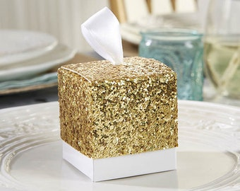 24 Gold Glitter Favor Boxes Sparkling Party Favors wedding Favor Boxes